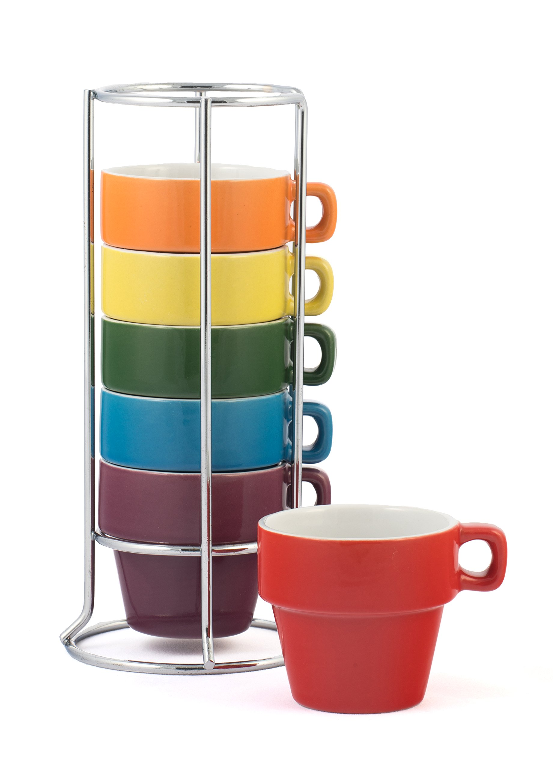 Gypsy Color Ceramic Espresso Mug Set of 6 Small (3 oz.) Stackable Espresso Cups with Chrome Stand, Mulicolor Rainbow Flag Colors