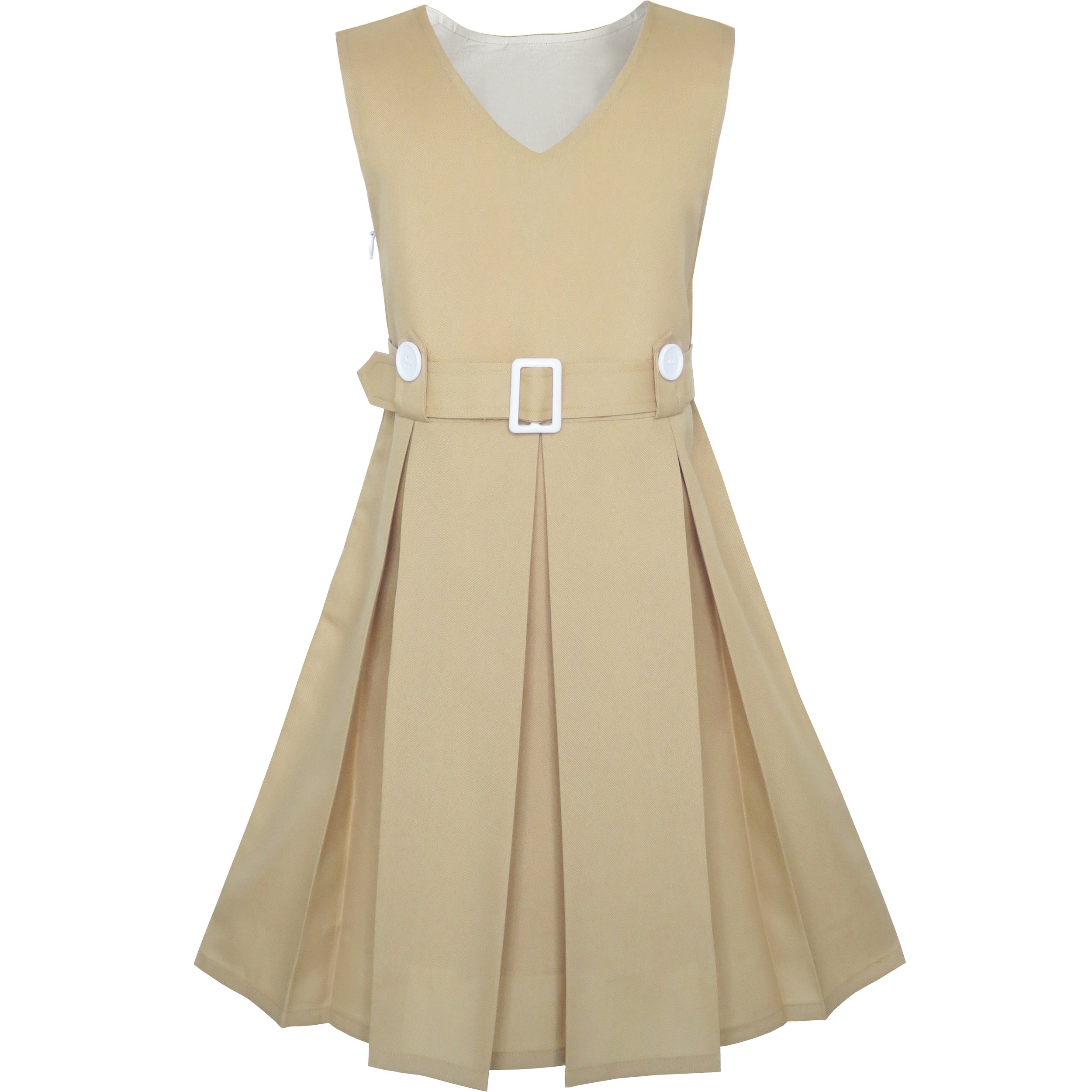 KS91 Girls Dress Khaki Button Back School Pleated Hem Size 6