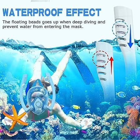 Double Tube Circulation Externe Anti-Bu/ée Anti-Fuite avec la Support pour Cam/éra de Sport Adapt/é pour Adulte et Enfant Shayson Masque de Plong/ée Masque de Snorkeling Plein Visage 180/° Visible