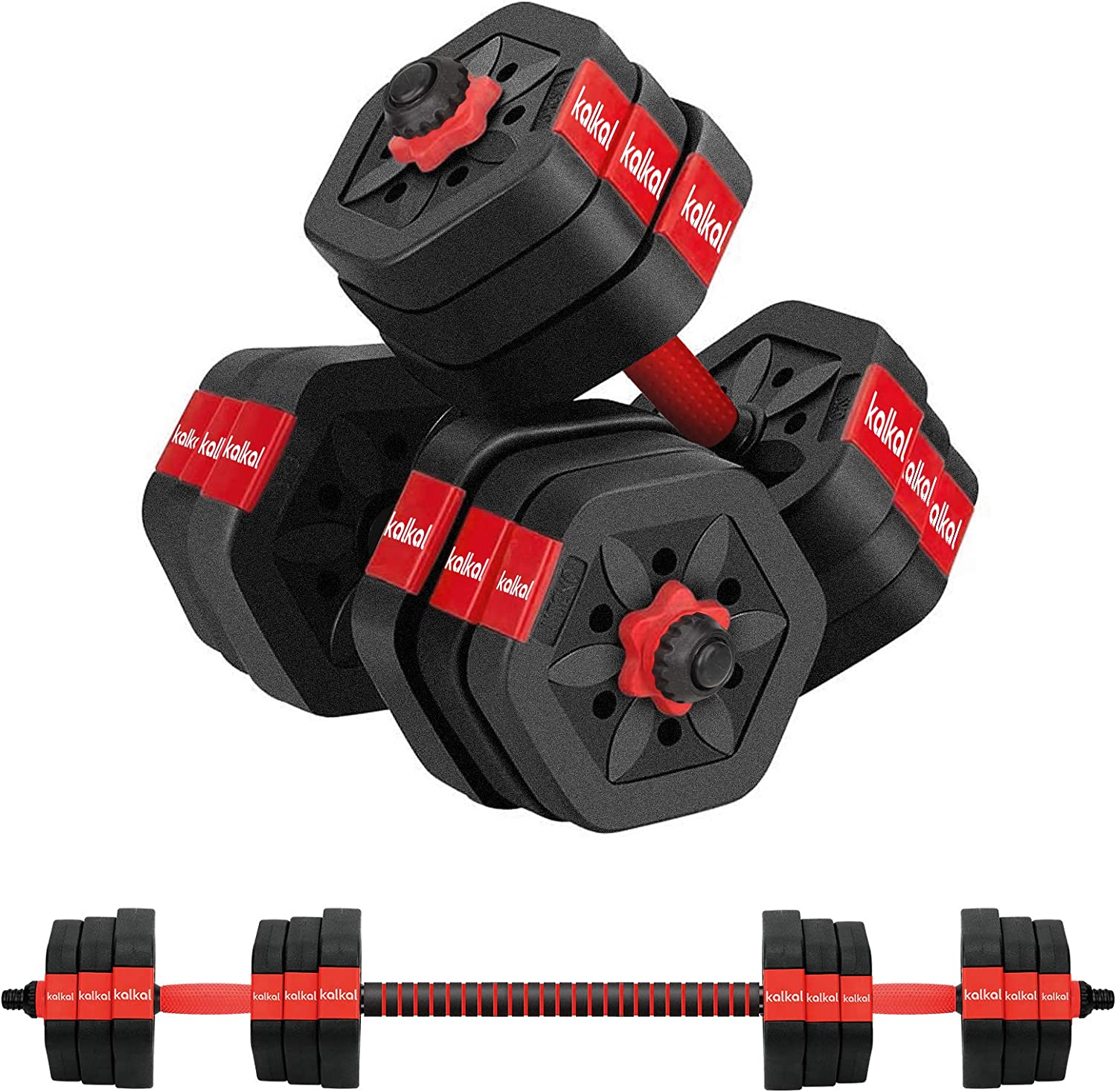 Kalkal Adjustable Dumbbells 44Lbs Barbell Weight Set, Weights Dumbbells Set with Connecting Rod for Men and Women Strength Training Home Gym Workout
