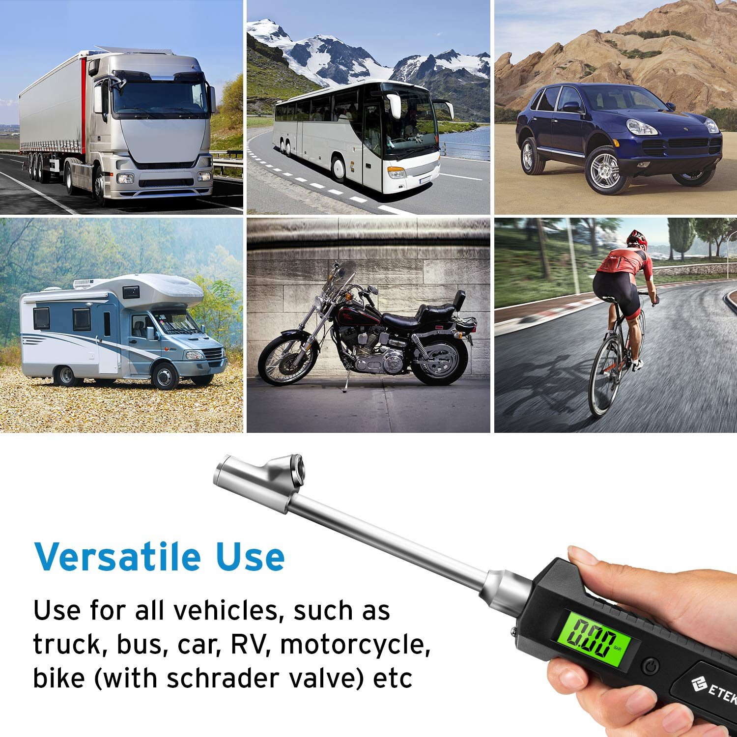 Dual Head RV Heavy Duty Monitoring System Stainless Steel Made for Truck Bike Car 4 Setting with Backlight LCD and Flashlight Etekcity Digital Tire Pressure Gauge 230 PSI
