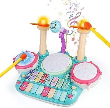 Fajiabao Tambor Infantil - Instrumentos Musicales Infantiles Batería Juguete con Canciones Infantil Kit de Batería Piano y Xilófono Set ElectróNica ...