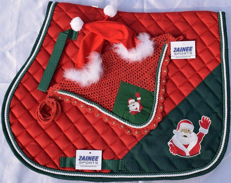 Pony Santa Claus Christmas Horse Saddle Pad and Fly Veil Set Equestrian Tack Zainee