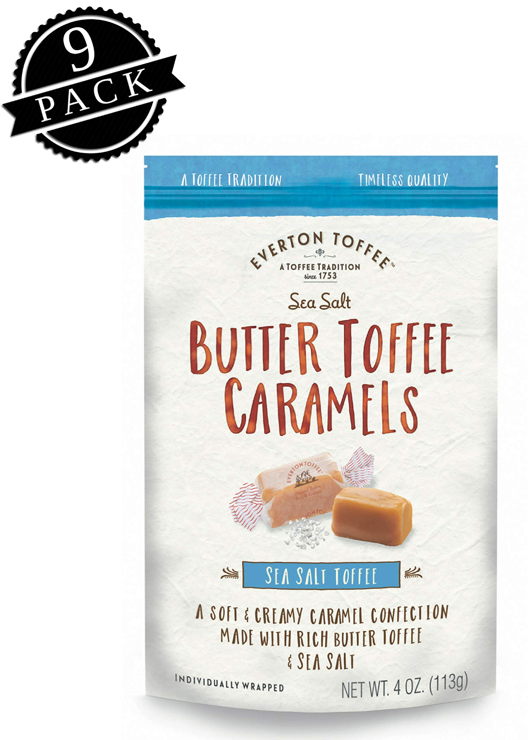 Everton Toffee Butter Toffee Caramels, Sea Salt Flavor (4 oz. bag, 9-pack). Gourmet, Artisan Soft and Creamy Toffee Caramels, Small Batch Crafted Carmel Candy Treats by Everton Toffee