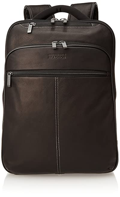 "Kenneth Cole Reaction Back-Stage Access Slim Colombian Leather TSA Checkpoint-Friendly 16"" Laptop & Tablet Travel Business Backpack"
