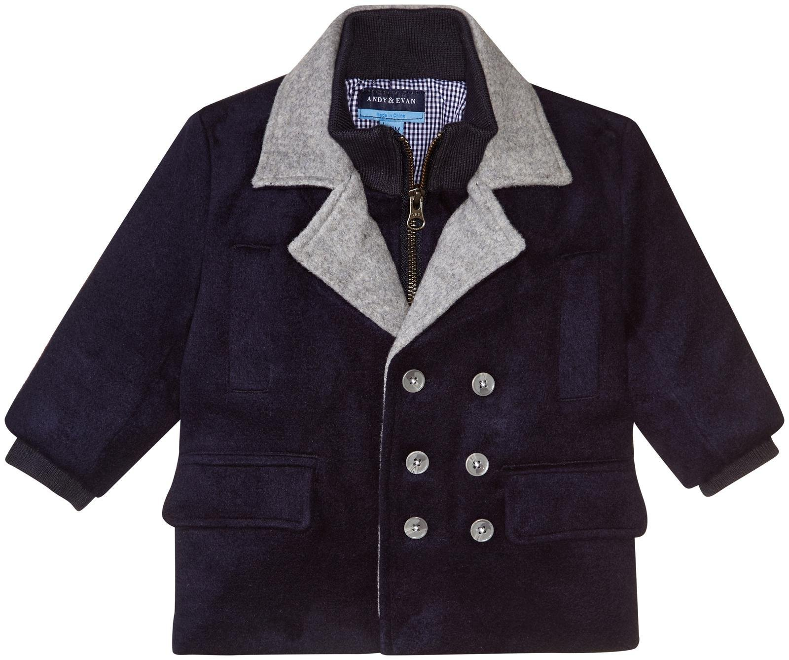 Andy & Evan Boys' Peacoat-Toddler, Navy, 2T