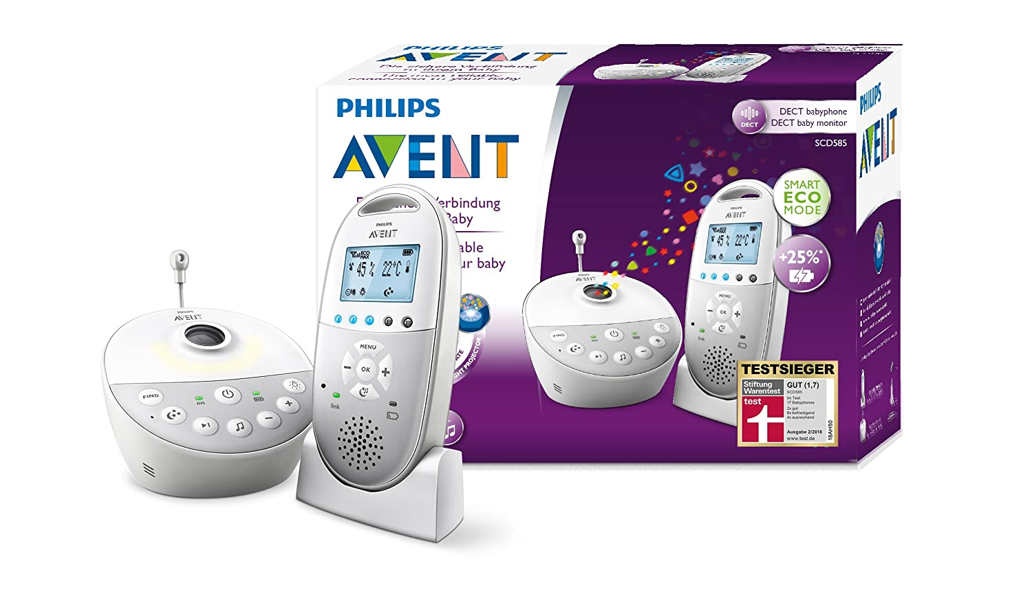 Philips Avent Audio-Babyphone SCD585/26, DECT-Technologie, Sternenhimmel, Eco-Mode, Gegensprechnfunktion Philips GmbH - Baby (VSS/FO)