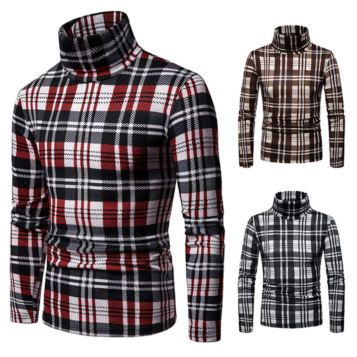 Mens High Collar Sweater Classic Plaid Long Sleeve Keep Warm Lightweight Fall Autumn Pullover Jumper Casual Regular Fit Top