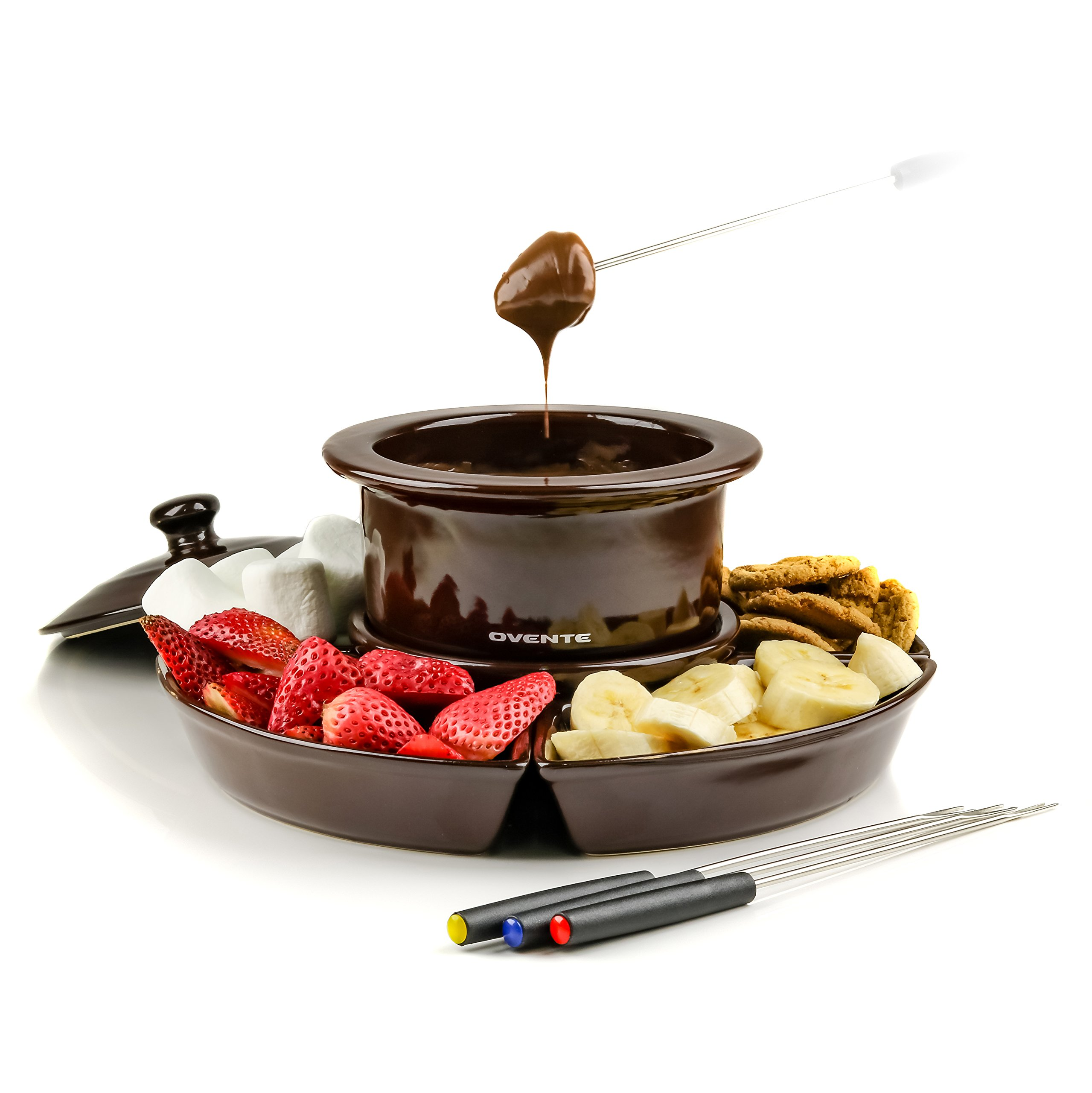 Ovente Electric Chocolate/Cheese Fondue Melting Pot and Warmer, 1L, Removable Ceramic Food Tray, Brown (CFC317BR)