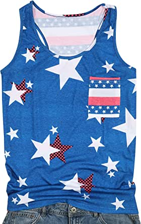 UNIQUEONE Womens Sleeveless T-Shirts Casual Tank Tops Print USA Flag Patriotic Camisole
