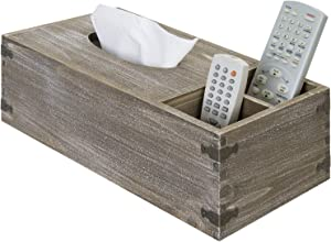 MyGift Rustic Brown Wood Tissue Box Holder with Remote Control Organizer Storage Slots and Decorative Vintage Metal Corner Wraps