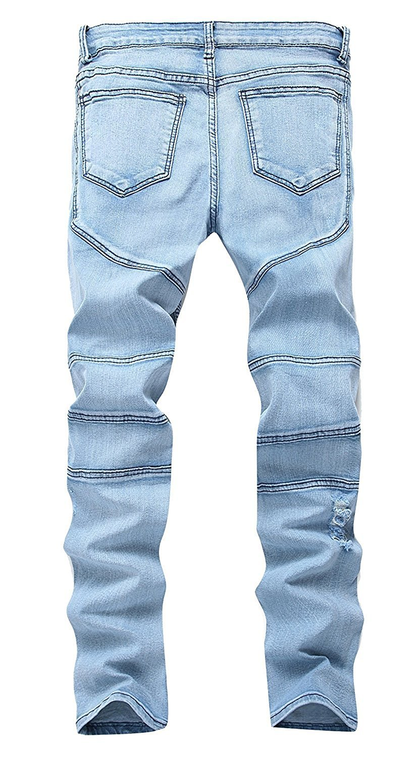 TOPING Fine Handsome Men's Blue Skinny Ripped Destroyed Distressed Straight Slim Tapered Leg Jeans 606blueW32