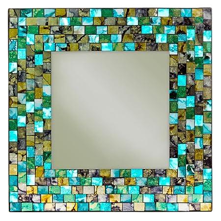Turkis Gold Mosaik Spiegel Quadratisch Amazon De Kuche