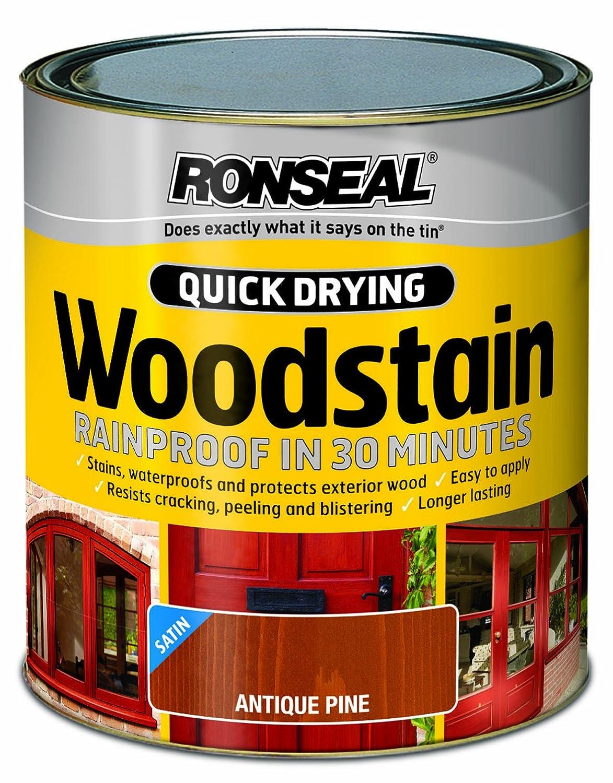 Ronseal QDWSAP250 250ml Woodstain Quick Dry Satin - Antique Pine RSLQDWSAP250