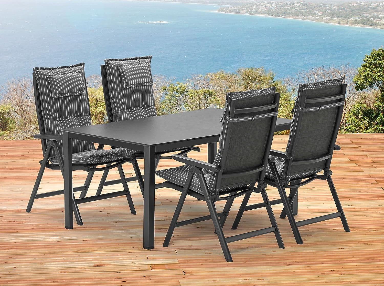 kettler sylt 1 tisch 140 x 95 cm 4 sessel 4 auflagen gartenm bel in anthrazit bronze g nstig. Black Bedroom Furniture Sets. Home Design Ideas