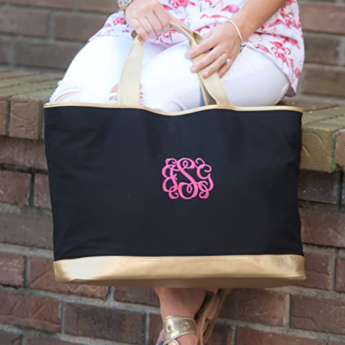 embroidered black and gold tote bag bridal shower gift bridesmaid gifts beach bag