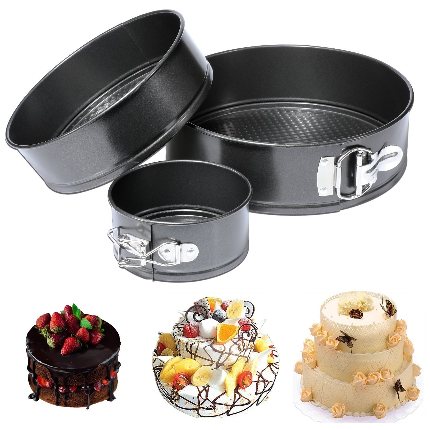 CESHUMD Springform Pan Set von 3 Antihaft-Cheesecake Pan ...