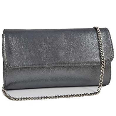 481d5f3e66f5a2 Freyday Echtleder Damen Clutch Tasche Abendtasche Muster Metallic 25x15cm  (Anthrazit Metallic)