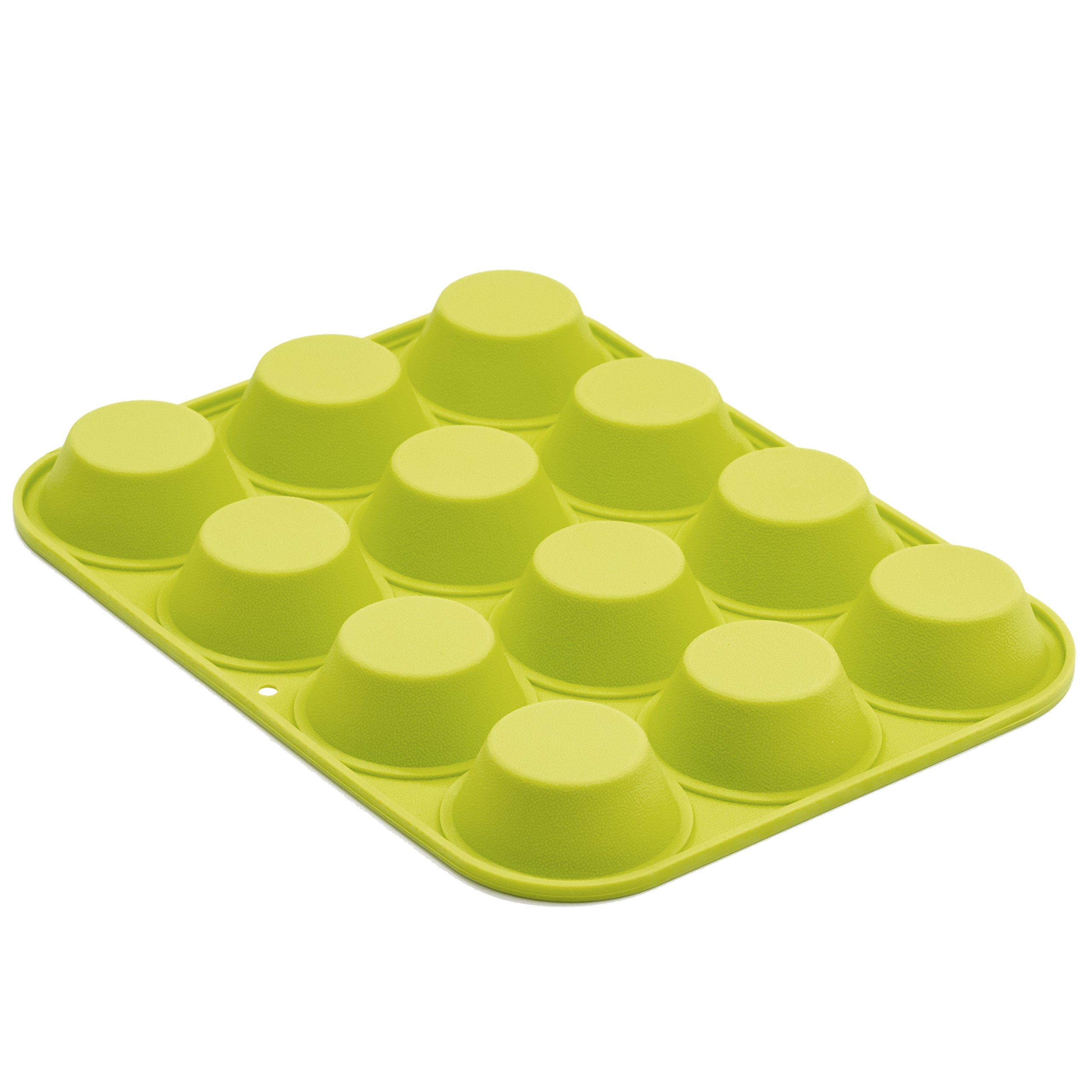 Marathon Housewares KW200011GR Premium Silicone 12 Cup Mini Muffin Pan, Green by Marathon Housewares (Image #2)