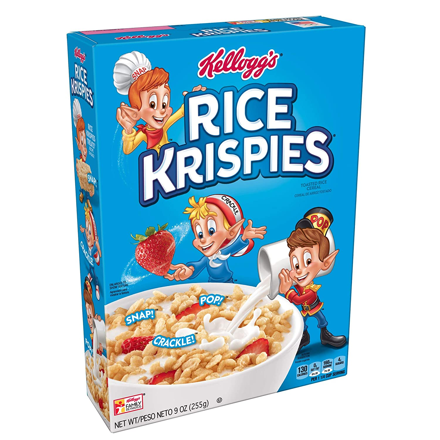 Kelloggs Rice Krispies, Breakfast Cereal, Toasted Rice Cereal, Fat-Free, 9 oz Box