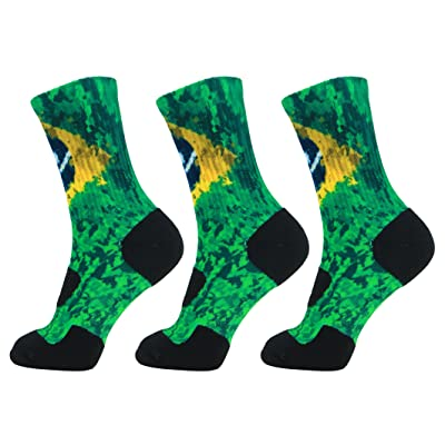 LIN 4 Pack Print Socks Cushion Basketball Athletic Sports Outdoor Socks One Size Fit Most
