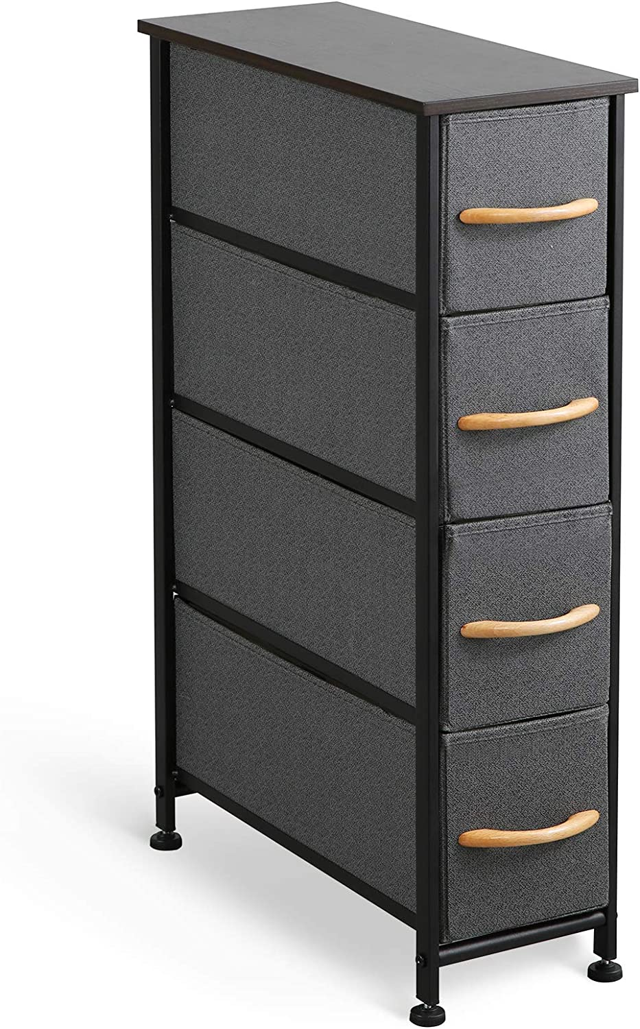 McNeil 4 Drawers Fabric Dresser Narrow Vertical Storage Tower Organizer Unit for Bedroom Office Laundry Closet Entryway Hallway Nursery Room, Black