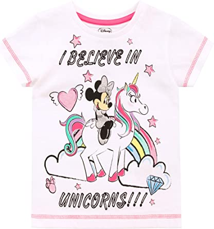 Disney Camiseta de Manga Corta para niñas Minnie Mouse Unicornio ...