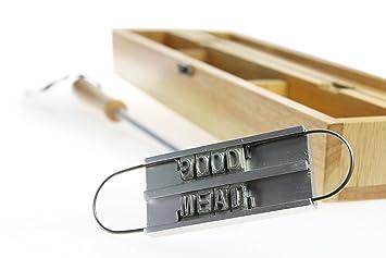Marcador de carne para la barbacoa con letras intercambiables y caja de madera – El herramiento