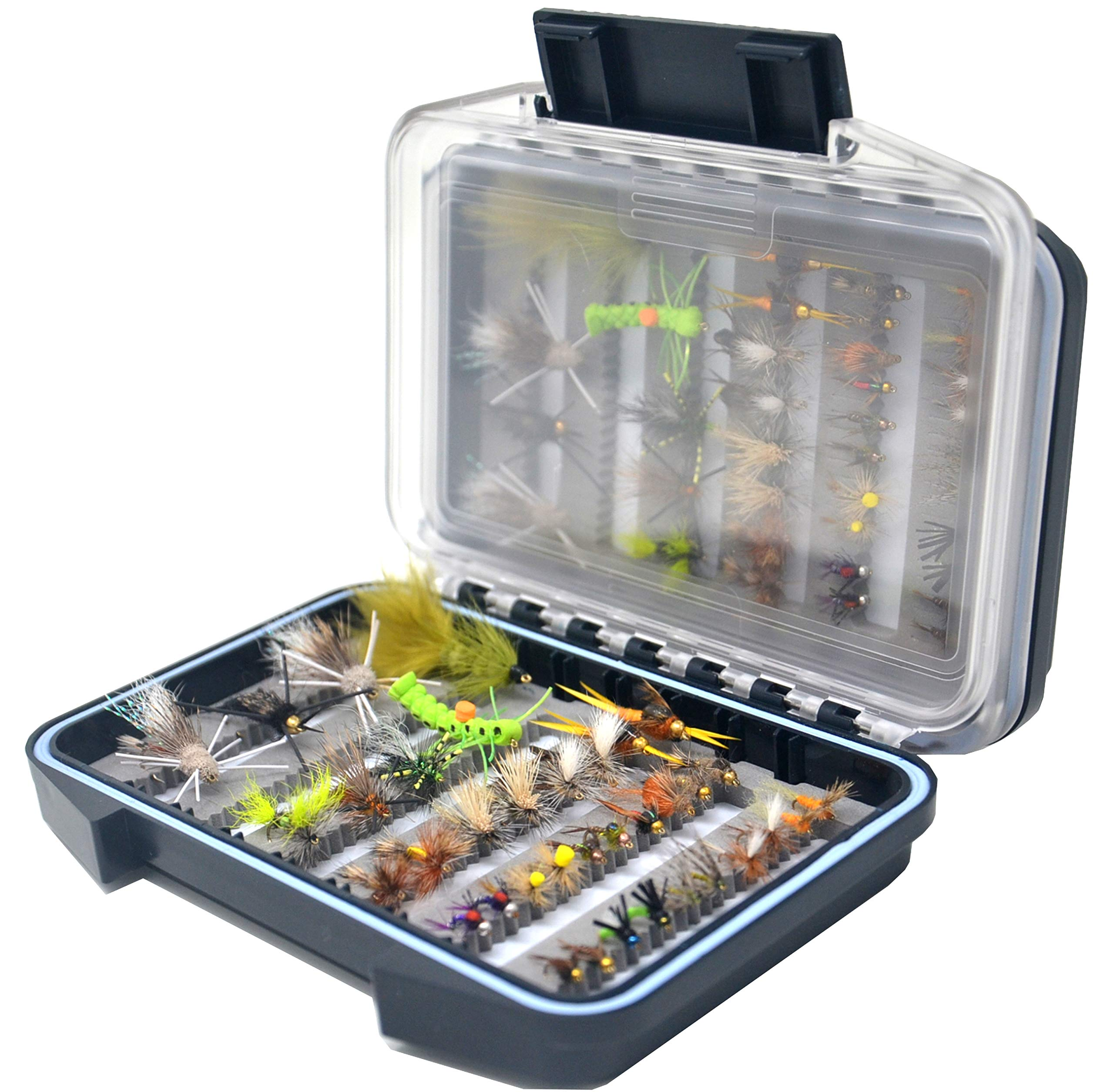 Outdoor Planet 36Pieces Pack 2 Essential Nymphs Flies/Wet Flies/Dry Flies/Streamer/Hopper Trout Fly Assortment for Fly Fishing Flies + Waterproof Fly Fishing Box by Outdoor Planet