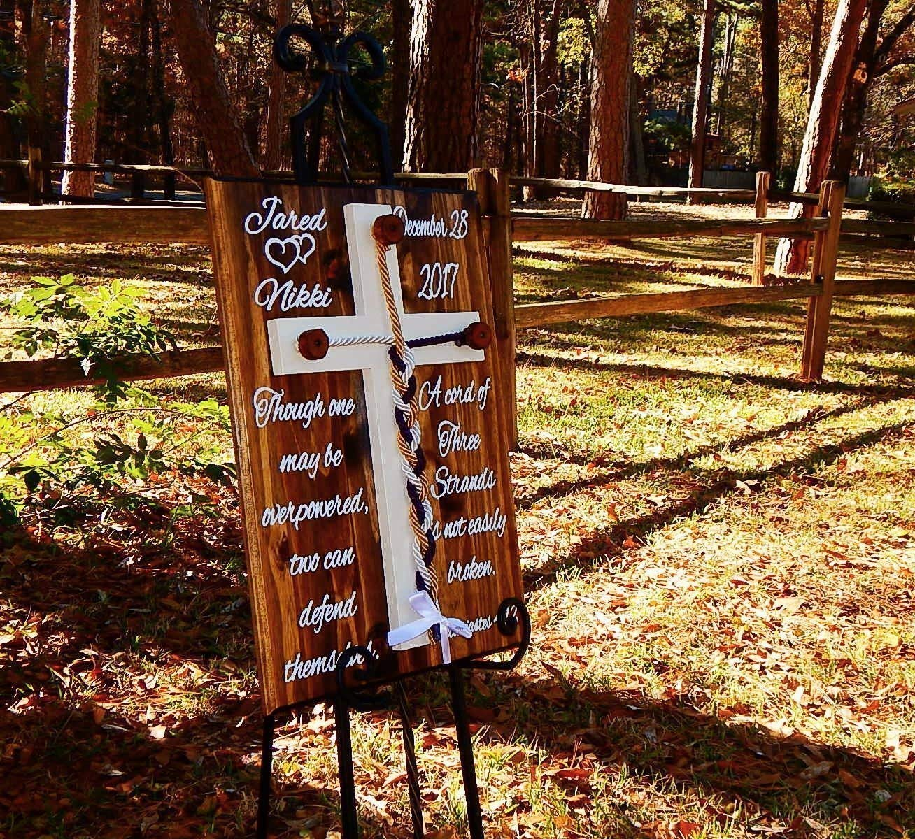 Wooden Cross Rustic Cord Of Three Strands Unity Wedding Wall