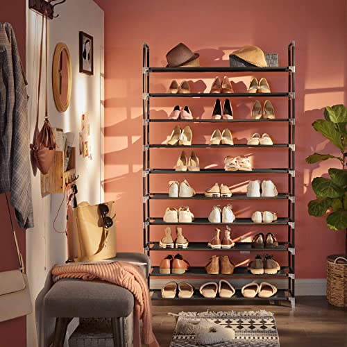 SONGMICS 10 Tiers Shoe Rack 50 Pairs Non-woven Fabric Shoe Tower Organizer