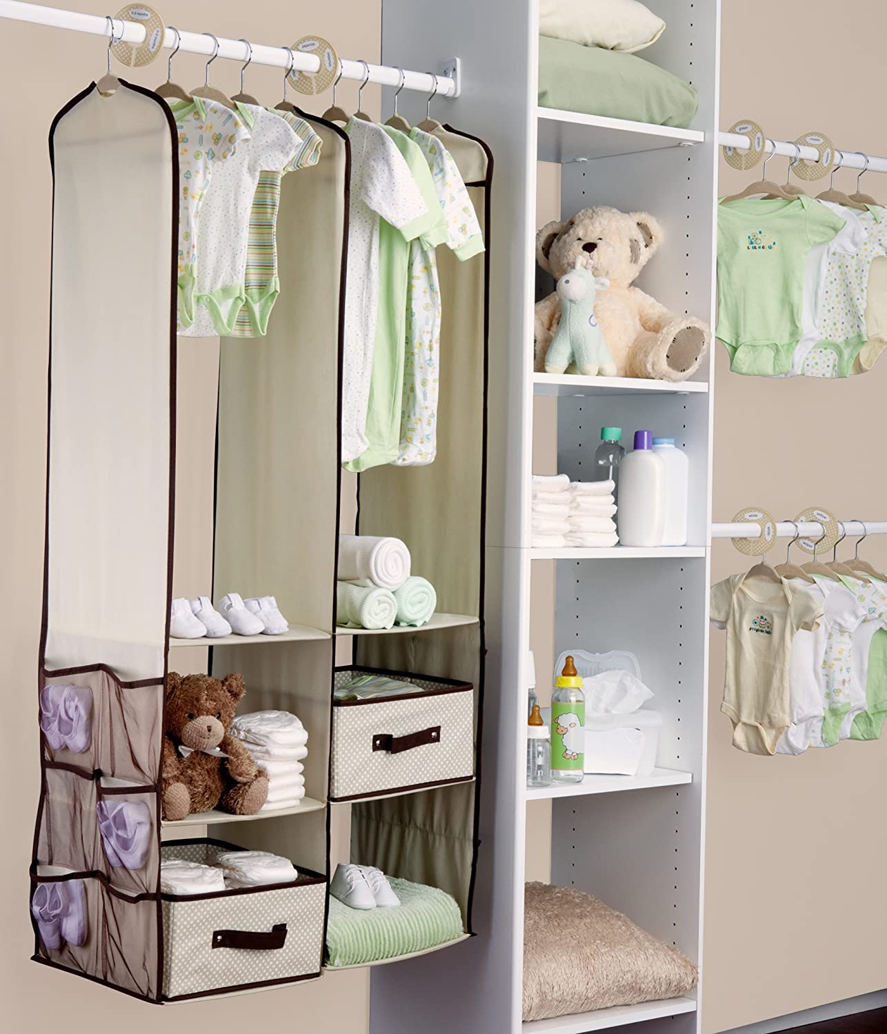 Amazon.com : Delta Children Nursery Closet Organizer, Beige, 24 piece :  Closet Storage And Organization Systems : Baby