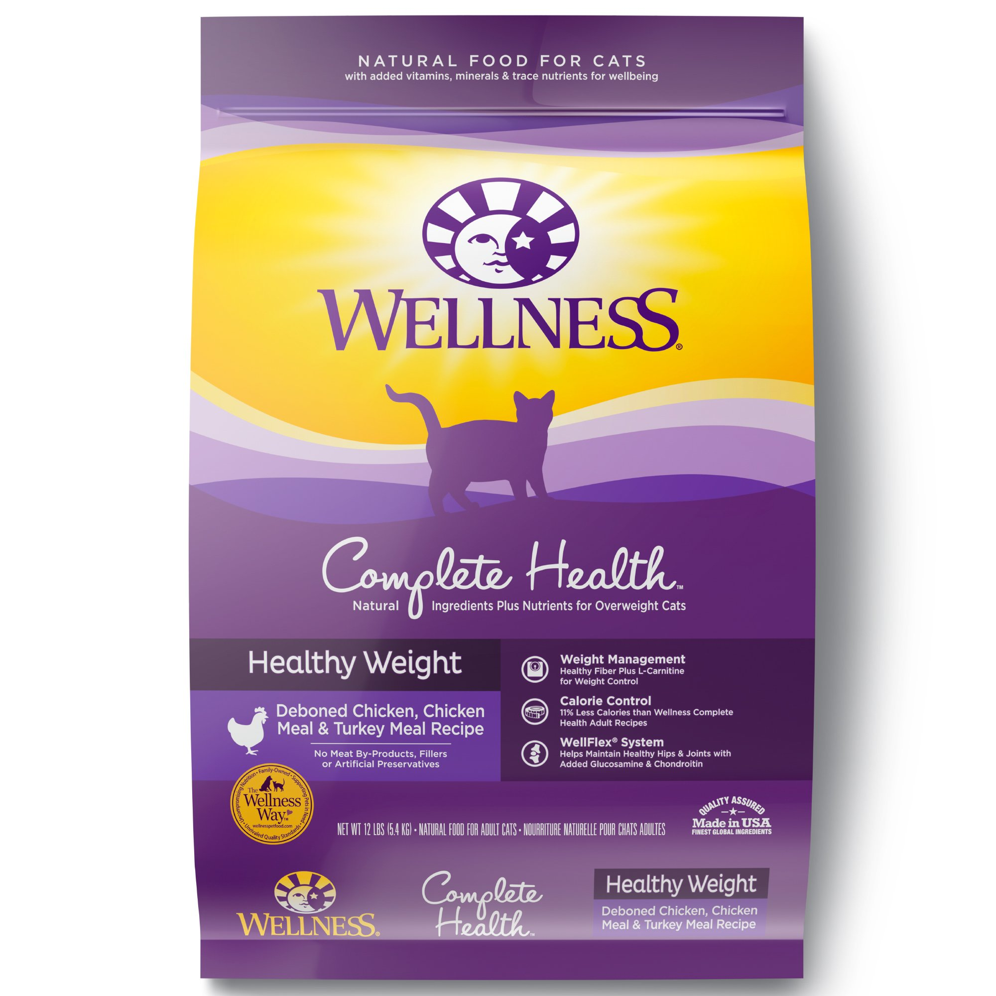 Wellness Natural Pet Food Complete Health Natural Dry Cat Food, Healthy Weight Chicken & Turkey Recipe, 12-Pound Bag by Wellness Natural Pet Food