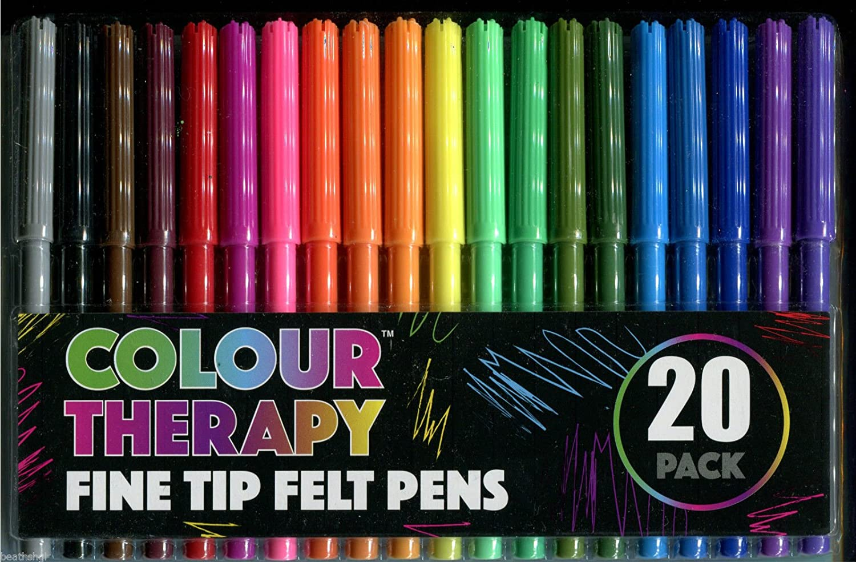 confezione da 20 Colour Therapy Fine Tip Felt Pens