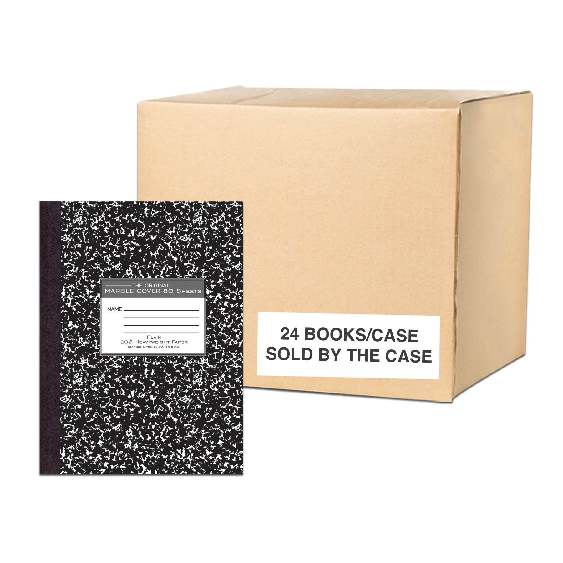Roaring Spring 77479cs Premium Composition Books, 80 sheets/Heavy Weight 20# Smooth White Paper, Oversized 10.25 x8'', Black Marble Cover, Unruled, Blank by Roaring Spring