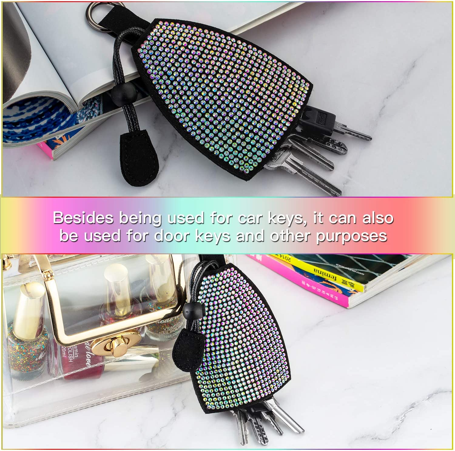 ZAKRA Car Key Chain Car Key Leather Case with Bling Bling Crystal Rhinestones,Key Pouch for Women Girls Colorful Diamonds