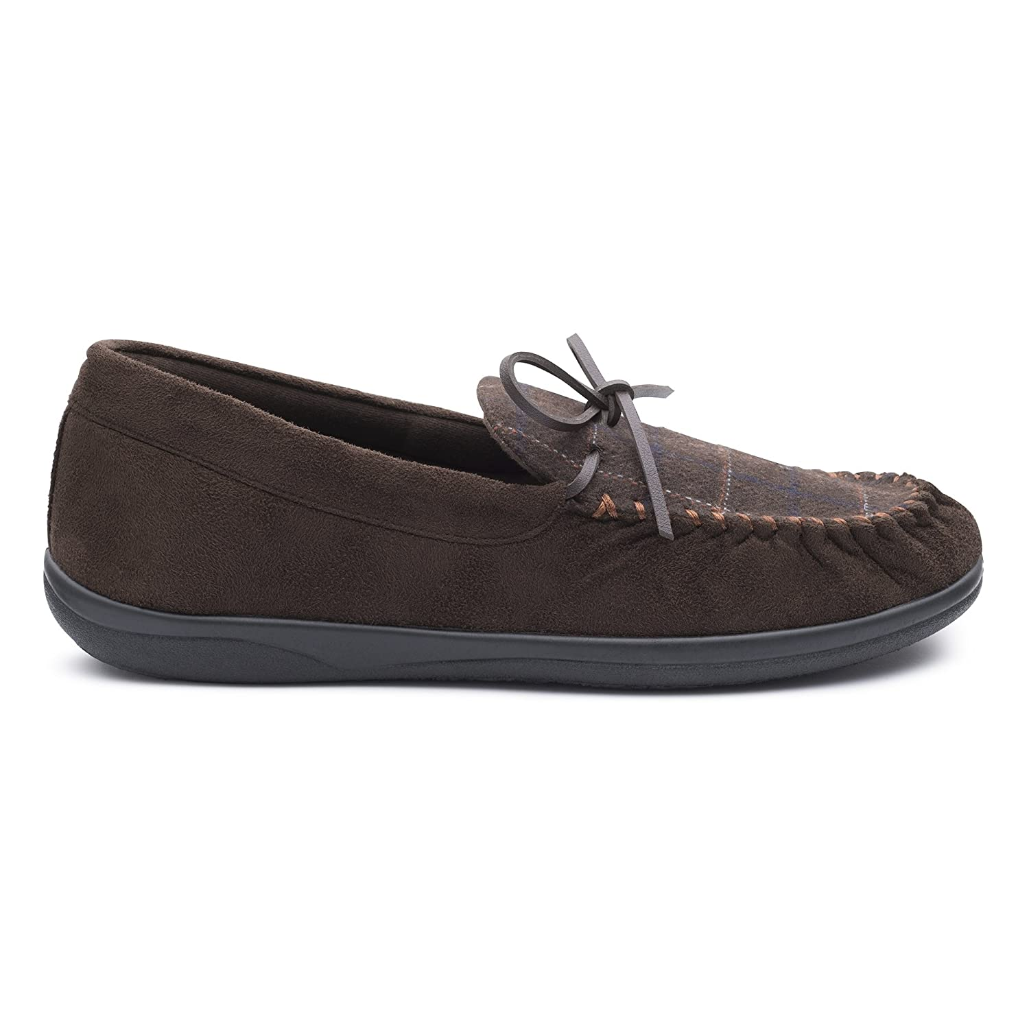 f75b872b9cd8 Padders Lounge Mens Textile Wide (G Fit) Slippers Brown UK 9  Amazon.co.uk   Shoes   Bags