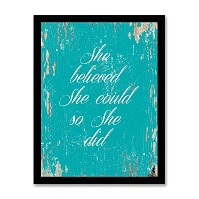 She Believed She Could So She Did Motivation Quote Print Canvas