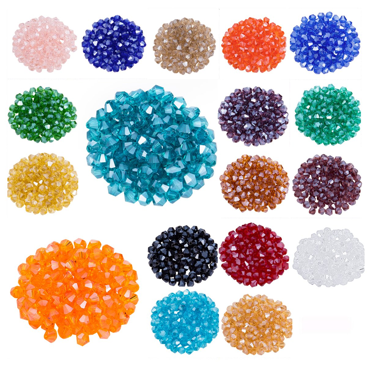 Lot 1800pcs Glass Bicone Beads - LONGWIN Wholesale 4mm Bicone Shaped Crystal Faceted Beads Jewelry Making Supply for DIY Beading Projects, Bracelets, Necklaces, Earrings & Other Jewelries (Color 2) by LONGWIN
