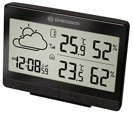 Bresser Estación meteorológica Temeo Trend lgx con Sensor Exterior, Negro