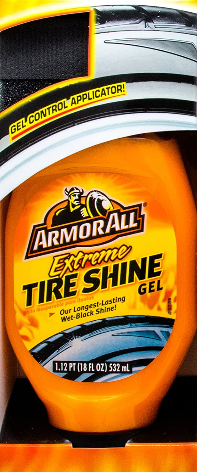 Armor All 77960 Extreme Tire Shine Gel - 18 fl. oz. with 3 Basics Thick Microfiber Cleaning Cloths