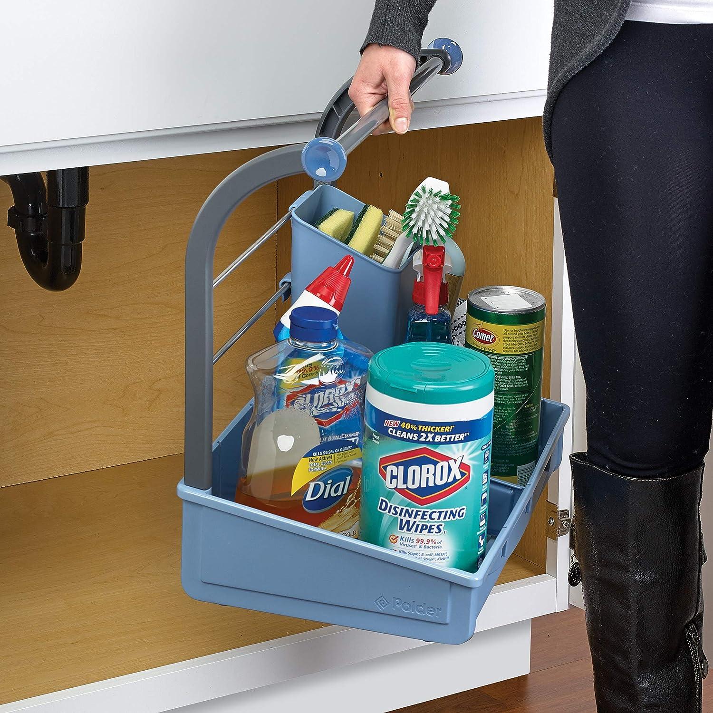 Talla /única Color Azul Organizador para Debajo del Fregadero Polder Products