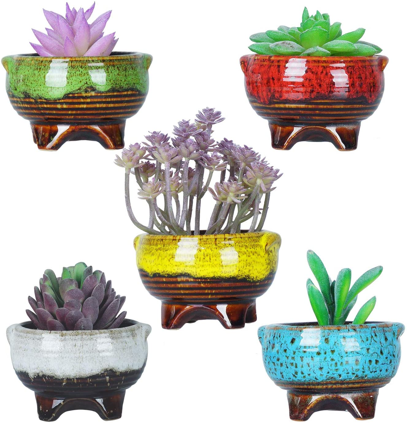 Amazon Com 4 Inch Ceramic Succulent Plant Pots Mini Cactus Planter Pots Tripod Glazed Flower Pots With Drainage Tiny Plant Containers Perfect For Desk Or Windowsill Pack Of 5 Kitchen Dining