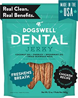 product image for Dogswell Dog Dental Care Treats Made in USA Only, Grain Free Chicken Jerky Dog Treats Freshen Breath
