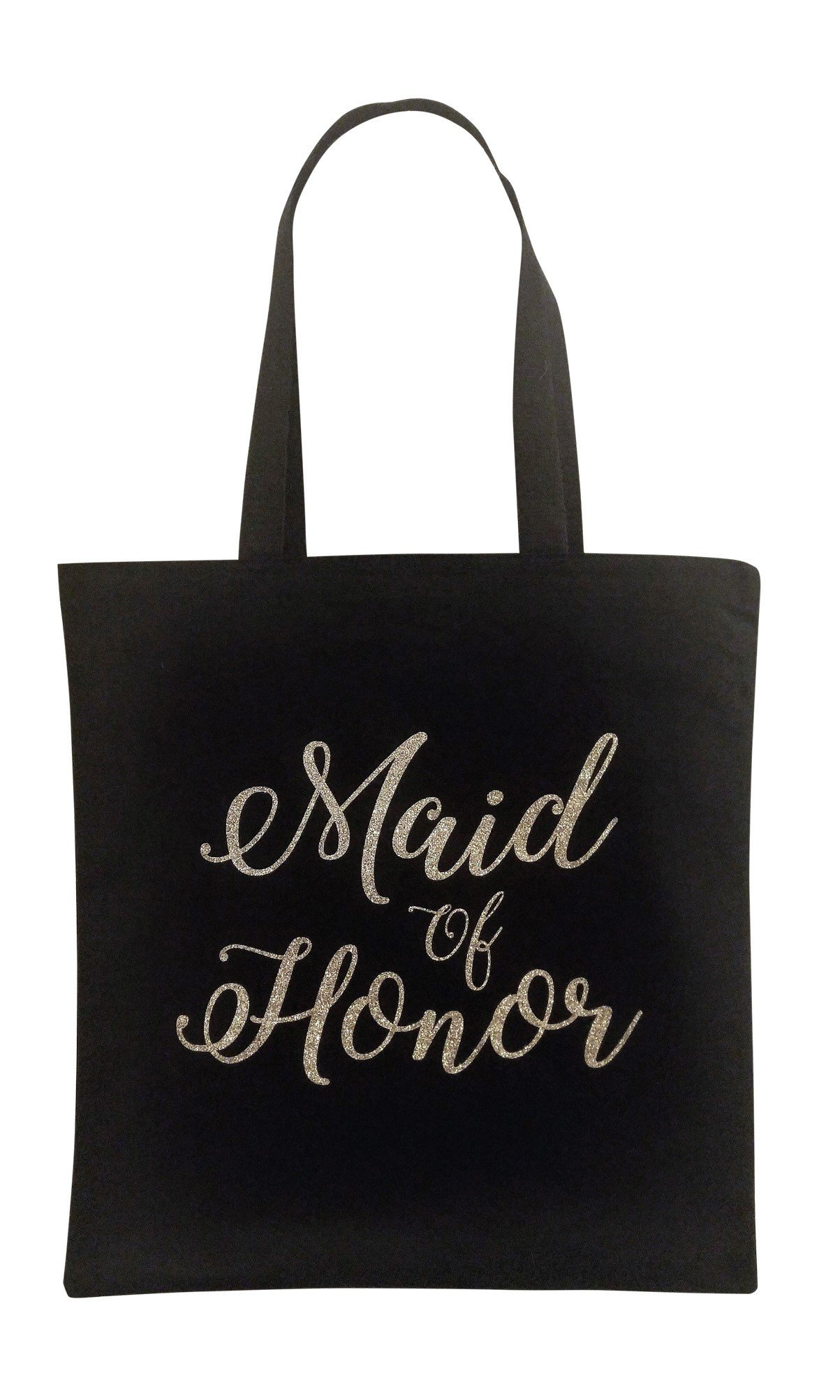 The Spoiled Office Wedding Party Bridal Tote Bag with Gold Lettering - Large Canvas 15'' x 16'' (Maid of Honor in Black)