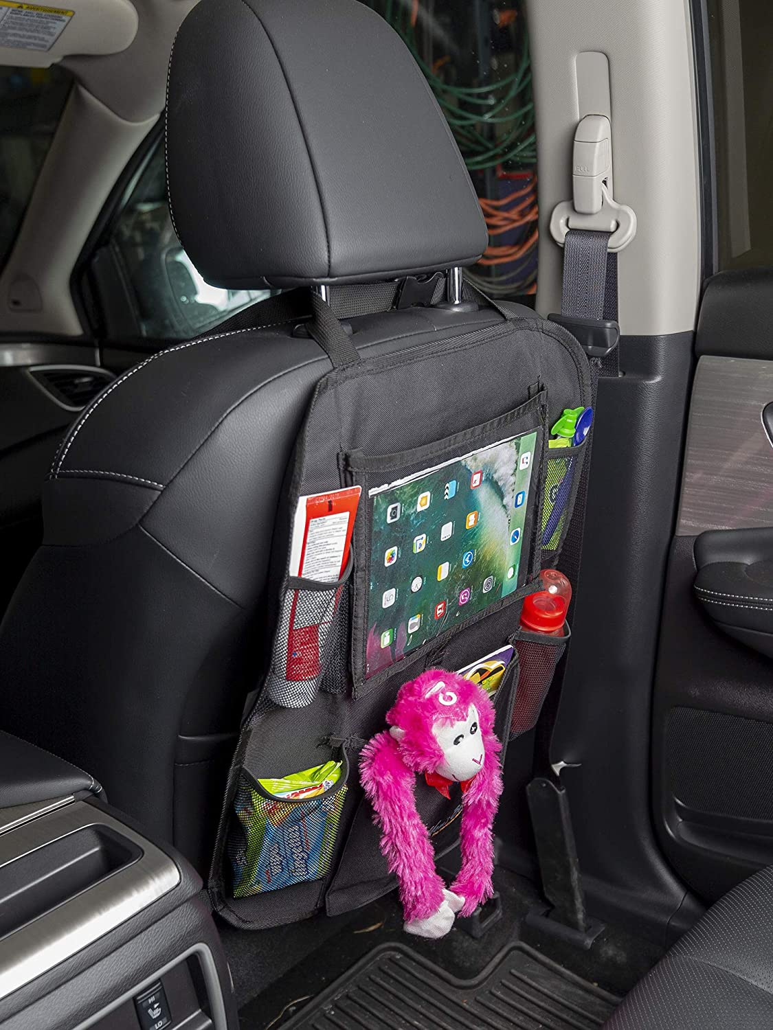 Car Organizer Tideland Products CAR1 5 Pockets Multipurpose Car Back Seat Organizer for Kids and Toddlers by Tidelands Kick Mat Touch Screen Tablet Holder for Android /& iOS