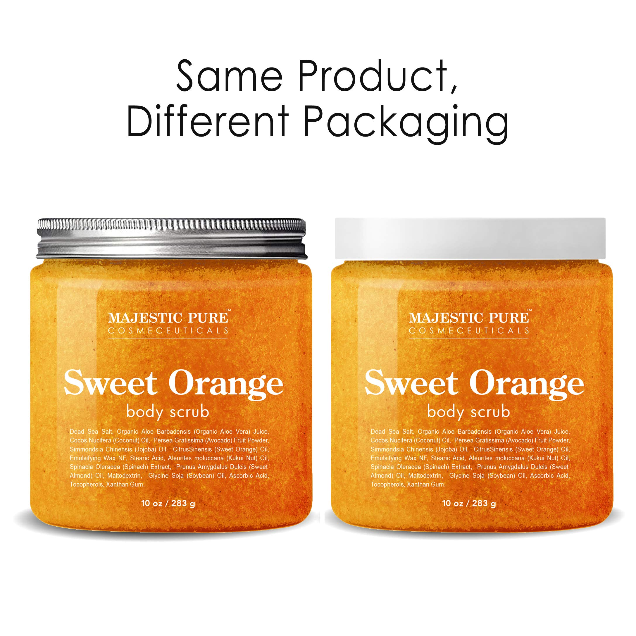 Majestic Pure Sweet Orange Body Scrub - Exfoliates, Moisturizes, and Nourishes Skin, 10 oz by Majestic Pure