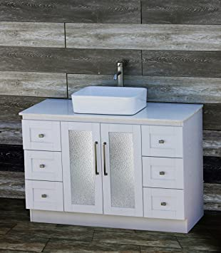 48 Bathroom Vanity Cabinet White Tech Stone Quartz Vessel Sink