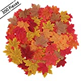 Luxbon Approx 300Pcs Artificial Autumn Fall Maple Leaves Bulk Multi Colors Great Autumn Table Scatters for Weddings & Autumn Parties & Events and Fall Decorating
