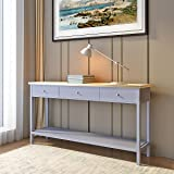 mobel oak console table. Side Console Table With 2 Drawers And 1 Shelf Grey Storage Wooden Hall Desk For Dining Mobel Oak L